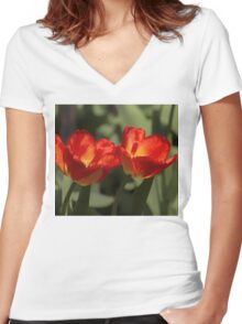 Fiery Tulips Women's Fitted V-Neck T-Shirt