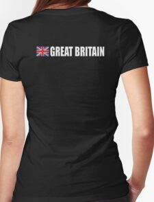 GREAT BRITAIN, Union Jack, Team, Sport, British Flag, UK, United Kingdom, White on BLACK Womens Fitted T-Shirt