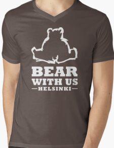 Bear With Us Helsinki Sitting Bear Mens V-Neck T-Shirt