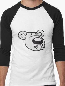 polar bear face head sweet cute comic cartoon teddy dick big Men's Baseball ¾ T-Shirt