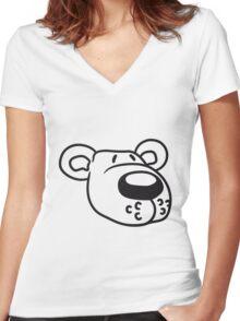 polar bear face head sweet cute comic cartoon teddy dick big Women's Fitted V-Neck T-Shirt