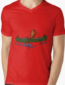 Funny Funky Cool Sea Otter Canoeing Mens V-Neck T-Shirt
