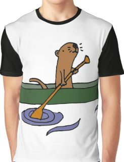 Funny Funky Cool Sea Otter Canoeing Graphic T-Shirt