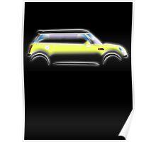 MINI, BMW, Mini Car, Liquid Yellow, British, Icon, Yellow Mini, Motor car Poster