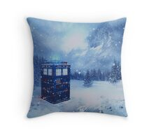 Tardis in Winterland Throw Pillow