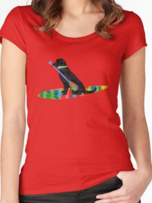 Colorful Stand Up Paddle Board Preppy Black Lab Women's Fitted Scoop T-Shirt