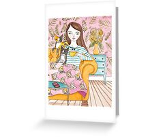Movie Night With the Cats Greeting Card