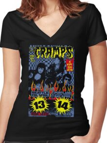 The Cramps (Seattle & Portland shows) Colour Women's Fitted V-Neck T-Shirt