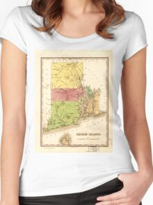 Vintage Map of Rhode Island (1829) Women's Fitted Scoop T-Shirt
