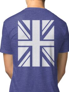 BRITISH, UNION JACK, UK, GB, FLAG, PORTRAIT IN WHITE ON BLUE Tri-blend T-Shirt