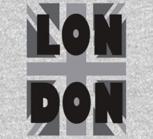 UNION JACK, LONDON, ENGLAND, GREY, BRITISH, GB, UK, One Piece - Long Sleeve