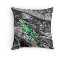 Colorized Lizard Throw Pillow