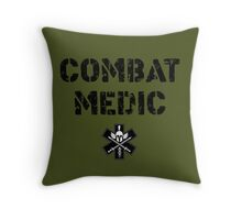 Combat Medic in olive drab Throw Pillow