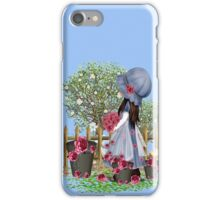 Cute girl with roses iPhone Case/Skin