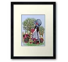 Cute girl with roses Framed Print