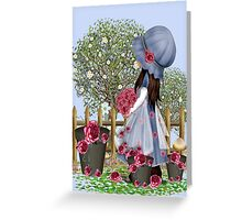 Cute girl with roses Greeting Card