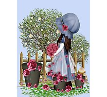 Cute girl with roses Photographic Print