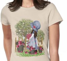Cute girl with roses Womens Fitted T-Shirt