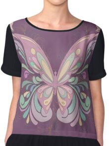 Colorful Ornately Designed Butterfly Graphic with flourishes Chiffon Top