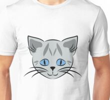 Gray Tabby Cat Face Graphic Unisex T-Shirt