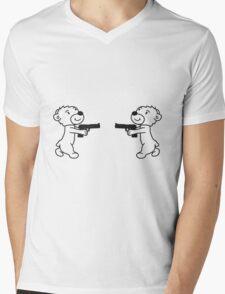 duel duel enemies shoot pistol knarre shoot criminals war weapon evil teddy bear sweet cute Mens V-Neck T-Shirt