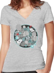 Bird and snow. Women's Fitted V-Neck T-Shirt