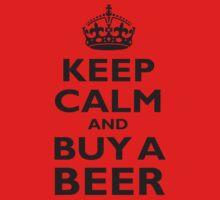 KEEP CALM, BUY A BEER, ON RED, UK, GB Kids Tee