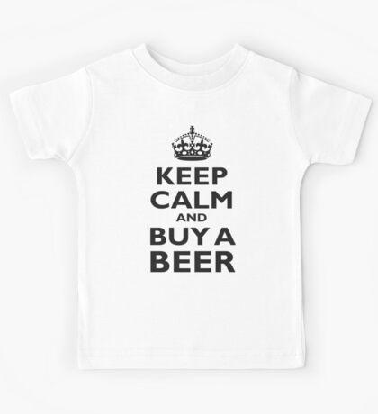 KEEP CALM, BUY A BEER, ON RED, UK, GB, British Kids Tee