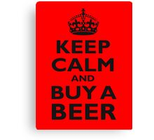 KEEP CALM, BUY A BEER, ON RED, UK, GB Canvas Print