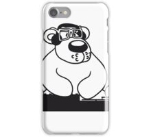 dj party music dance club mischpult glasses celebrate headphones cool plate discounted polar bear sitting sweet cute comic cartoon teddy bear dick big iPhone Case/Skin