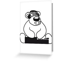 dj party music dance club mischpult glasses celebrate headphones cool plate discounted polar bear sitting sweet cute comic cartoon teddy bear dick big Greeting Card