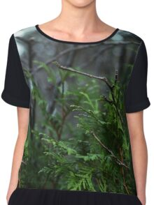 Green Tree Branches Chiffon Top