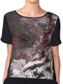 Black, Red, and White Abstract Chiffon Top