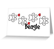 DOG PAWS LOVE BEAGLE DOG PAW I LOVE MY BEAGLES DOG PET PETS PUPPY STICKER STICKERS DECAL DECALS Greeting Card