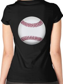 BASEBALL, BALL, SOFTBALL, Pitch, Pitcher, Sport, Game, Bat and Ball game, on BLACK Women's Fitted Scoop T-Shirt