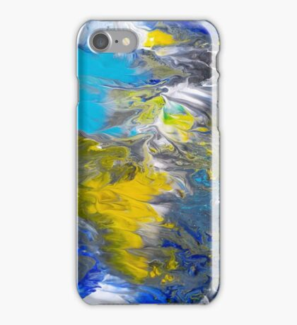 Blue, Grey, White, and Yellow Abstract iPhone Case/Skin