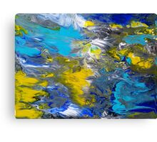 Blue, Grey, White, and Yellow Abstract Canvas Print