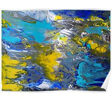 Blue, Grey, White, and Yellow Abstract Poster