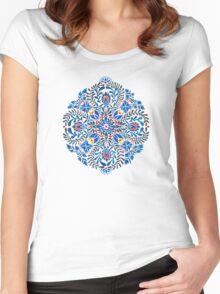 Blue, yellow, orange floral mandala pattern Women's Fitted Scoop T-Shirt