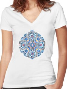 Blue, yellow, orange floral mandala pattern Women's Fitted V-Neck T-Shirt