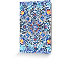 Blue, yellow, orange floral mandala pattern Greeting Card