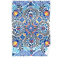 Blue, yellow, orange floral mandala pattern Poster