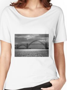 Yaquina Bay Bridge Black And White Women's Relaxed Fit T-Shirt