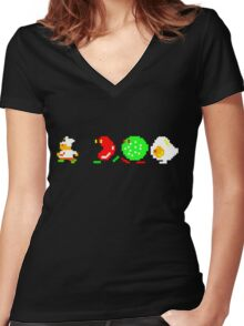 BurgerTime Retro Chase Graphic Women's Fitted V-Neck T-Shirt