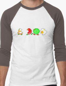 BurgerTime Retro Chase Graphic Men's Baseball ¾ T-Shirt