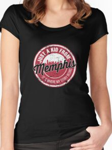 JUST A KID FROM MEMPHIS IT'S WHERE MY STORY BEGINS Women's Fitted Scoop T-Shirt