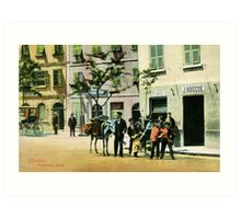Vintage Gibraltar vegetables seller, street scene Art Print