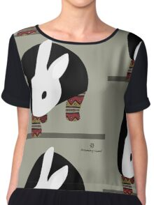 pattern rabbit Chiffon Top
