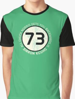 Sheldon Cooper 73 - Distressed Vanilla Cream Circle Chuck Norris Text Graphic T-Shirt
