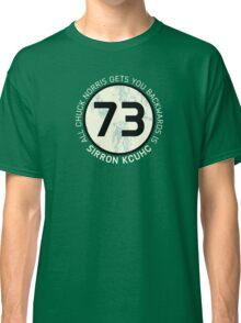 Sheldon Cooper 73 - Distressed Vanilla Cream Circle Chuck Norris Text Classic T-Shirt